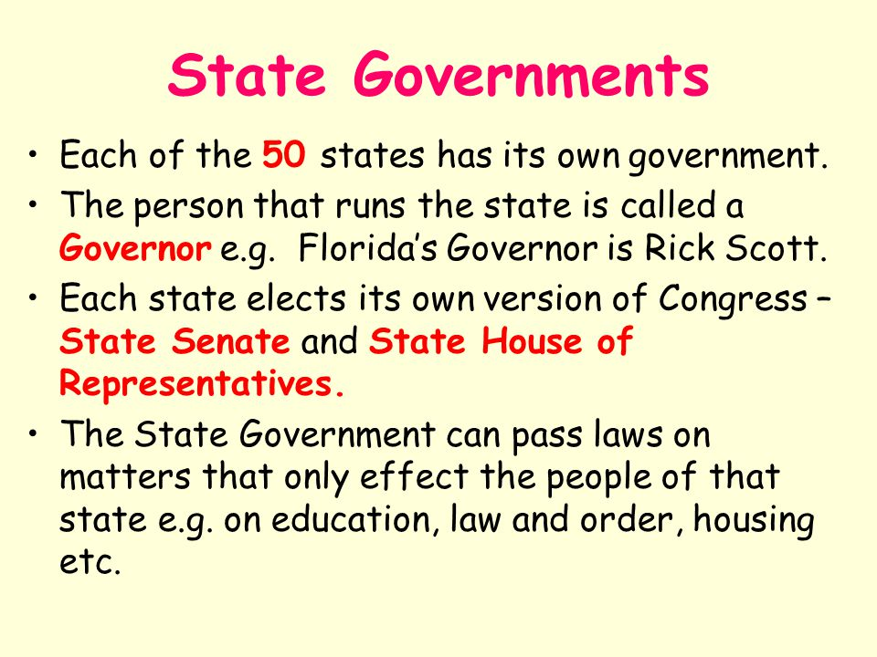 State Governments Each of the 50 states has its own government.