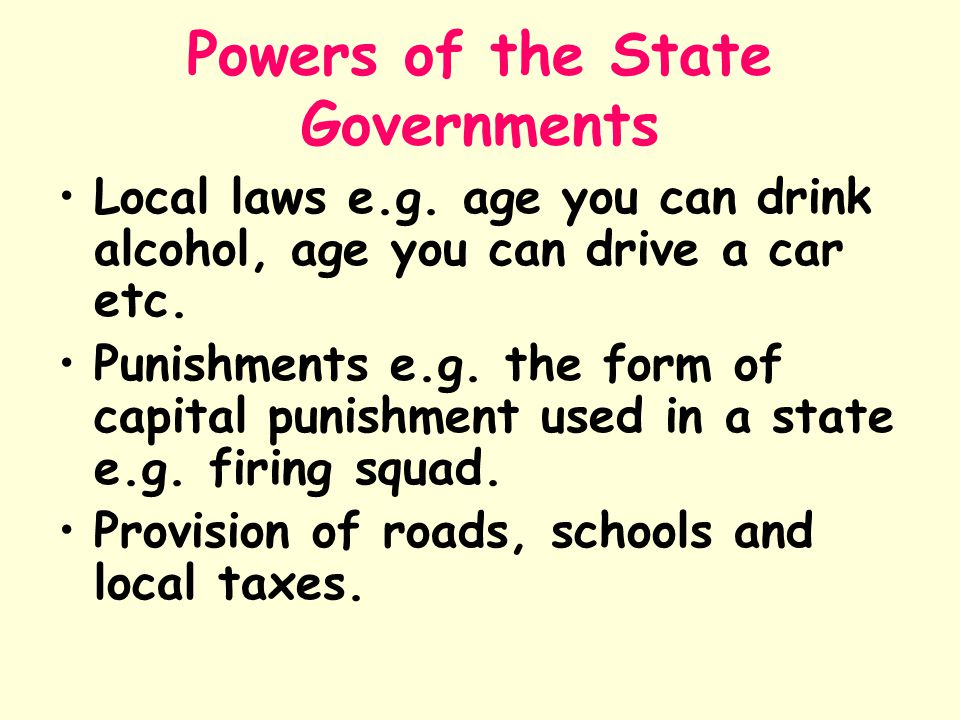 Powers of the State Governments