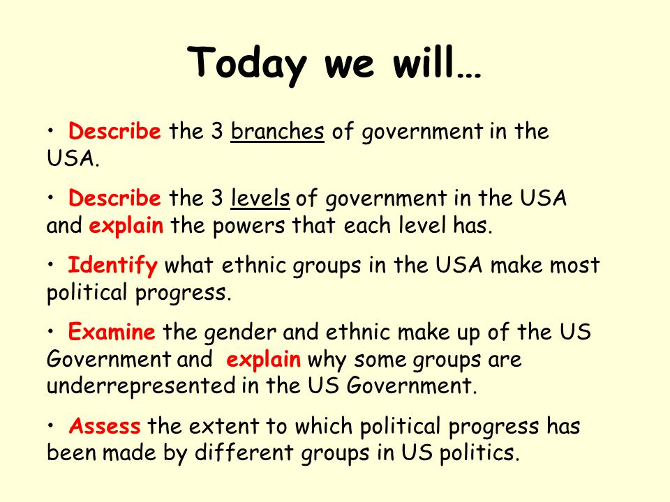 Today we will… Describe the 3 branches of government in the USA.