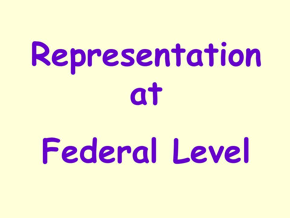 Representation at Federal Level