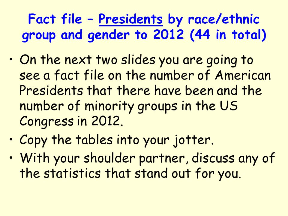 Fact file – Presidents by race/ethnic group and gender to 2012 (44 in total)