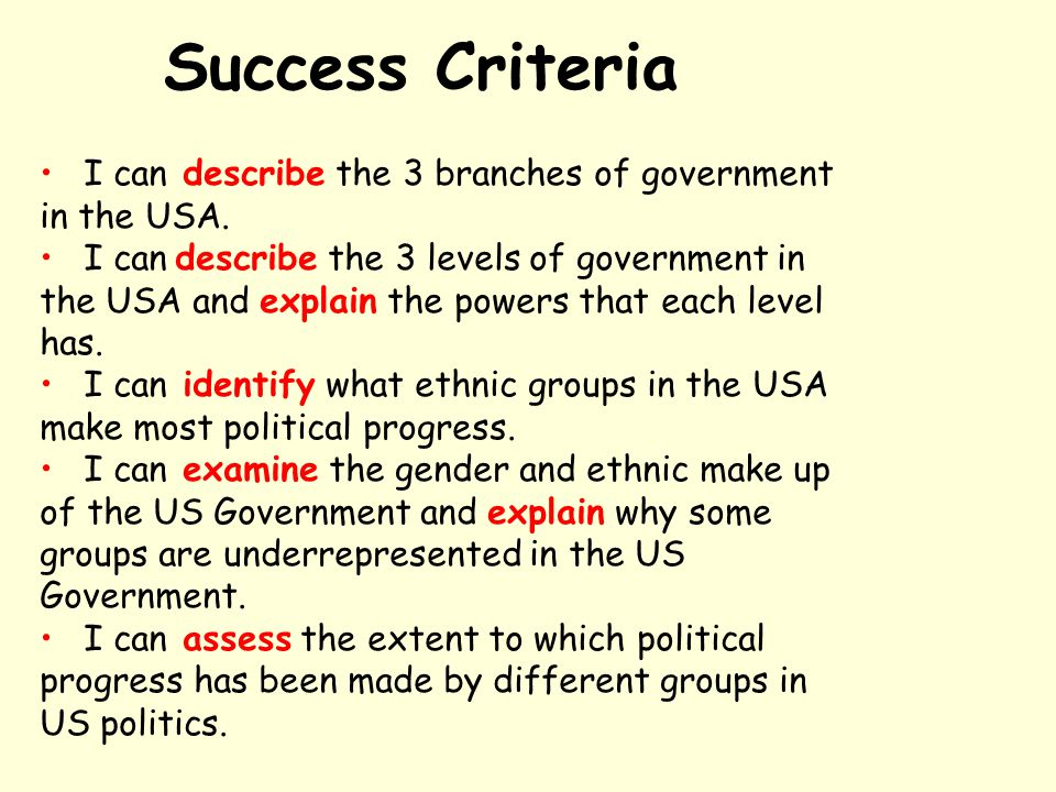 Success Criteria I can describe the 3 branches of government in the USA.