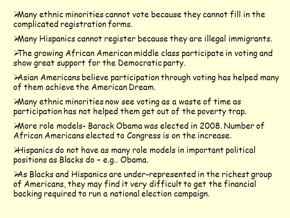 Many ethnic minorities cannot vote because they cannot fill in the complicated registration forms.