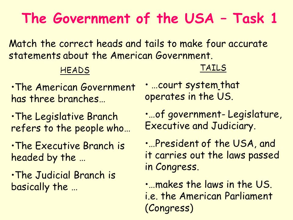 The Government of the USA – Task 1