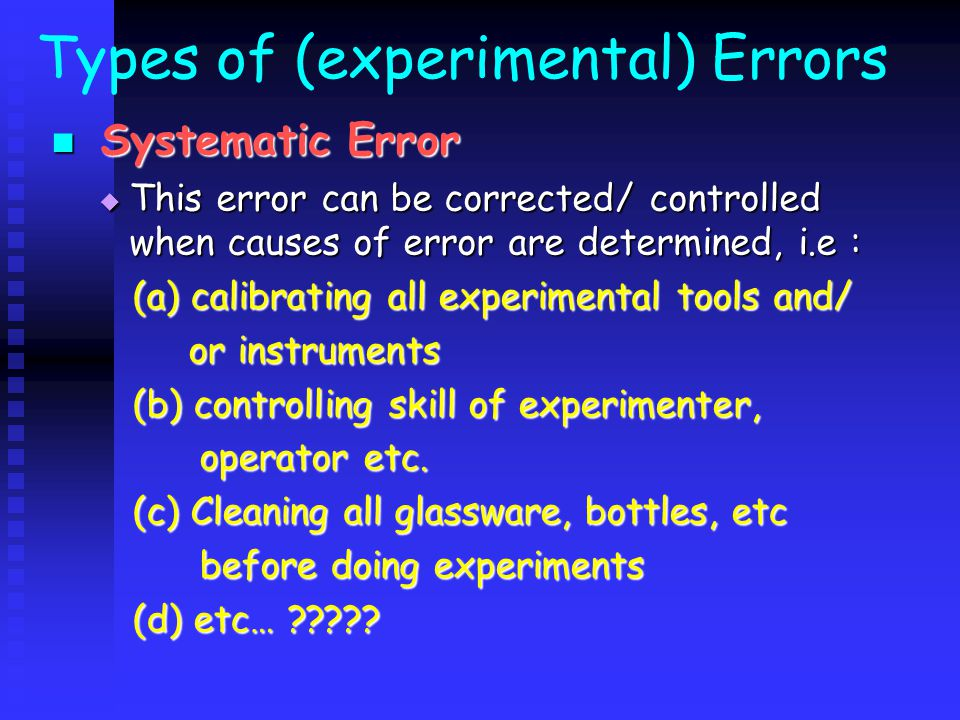 Types of (experimental) Errors