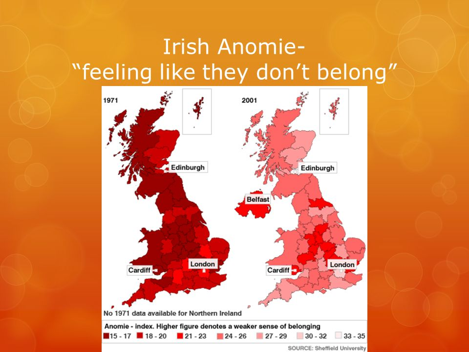 Irish Anomie- feeling like they don't belong