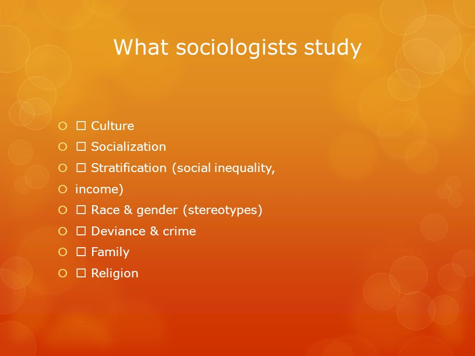 What sociologists study