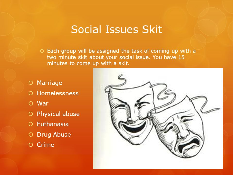 Social Issues Skit Marriage Homelessness War Physical abuse Euthanasia