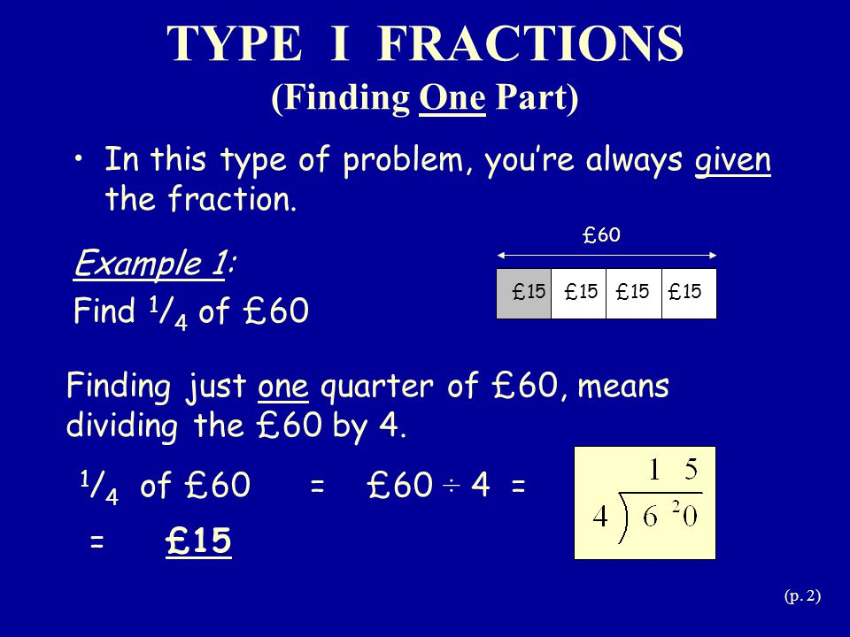 TYPE I FRACTIONS (Finding One Part)
