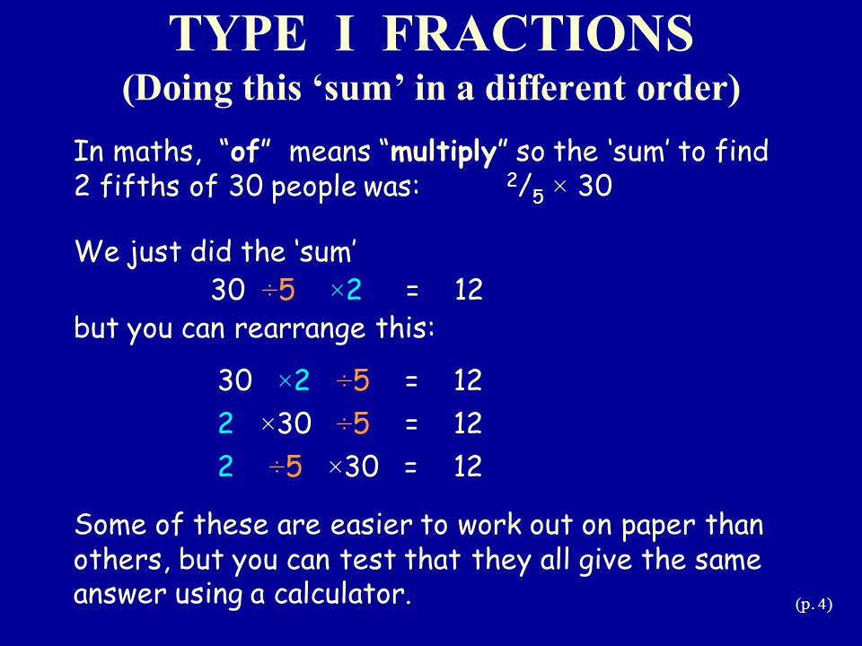 TYPE I FRACTIONS (Doing this 'sum' in a different order)