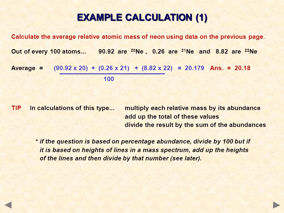 EXAMPLE CALCULATION (1)