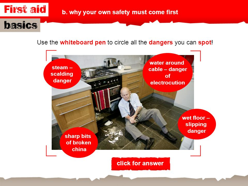 Use the whiteboard pen to circle all the dangers you can spot!