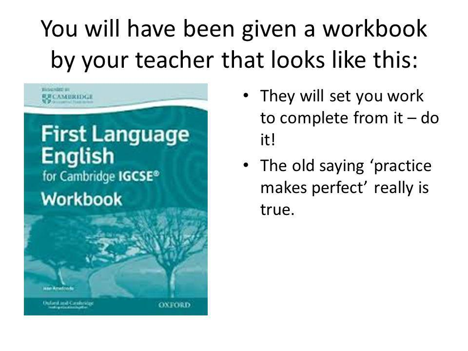 You will have been given a workbook by your teacher that looks like this: