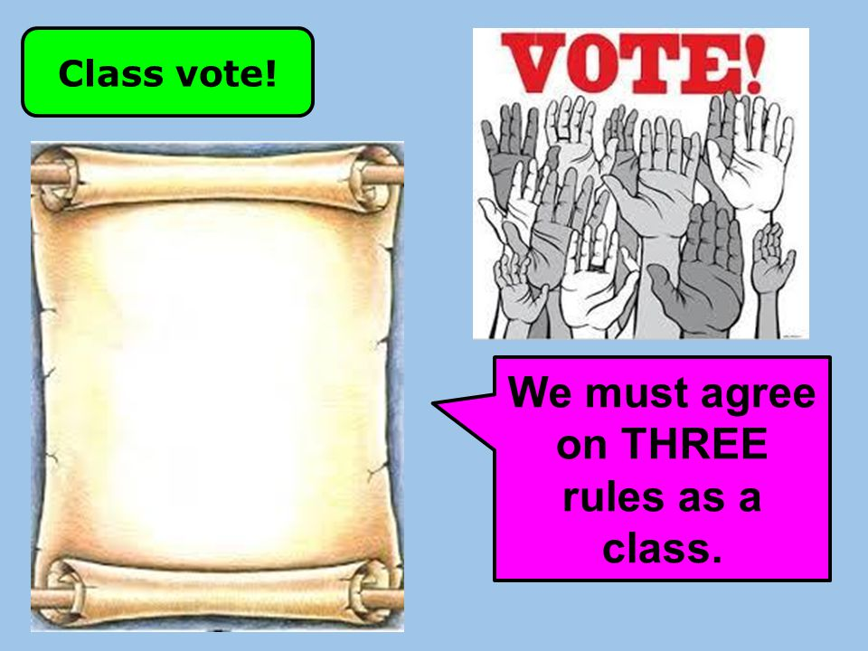 We must agree on THREE rules as a class.