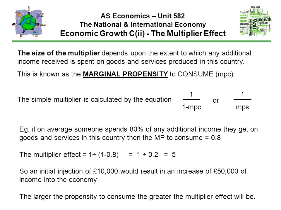The size of the multiplier depends upon the extent to which any additional income received is spent on goods and services produced in this country.