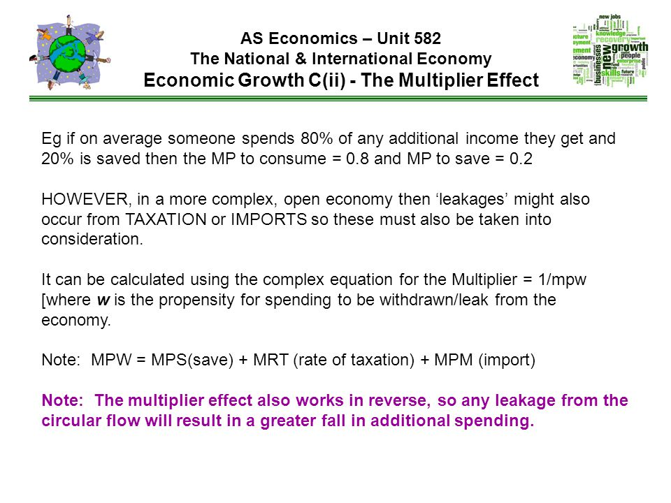 Eg if on average someone spends 80% of any additional income they get and 20% is saved then the MP to consume = 0.8 and MP to save = 0.2