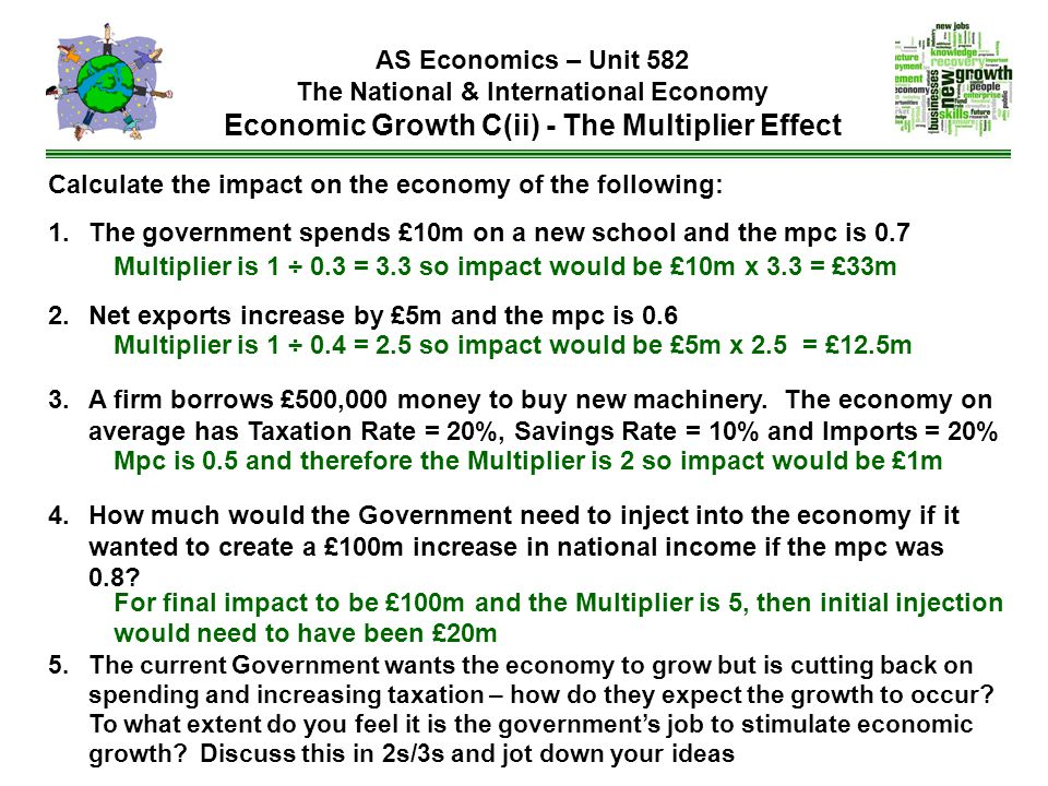 Calculate the impact on the economy of the following: