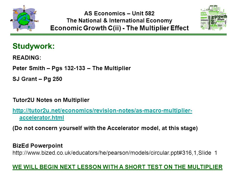 Studywork: READING: Peter Smith – Pgs 132-133 – The Multiplier
