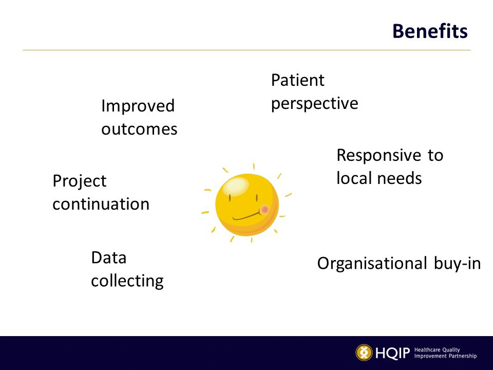 Benefits Patient perspective Improved outcomes