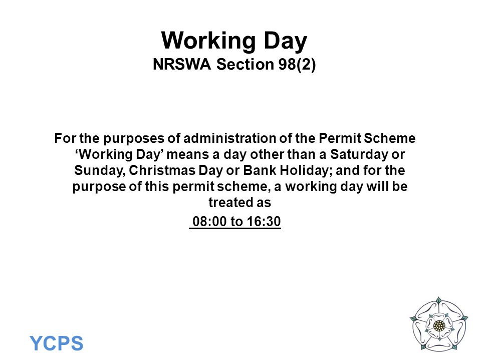 Working Day NRSWA Section 98(2)