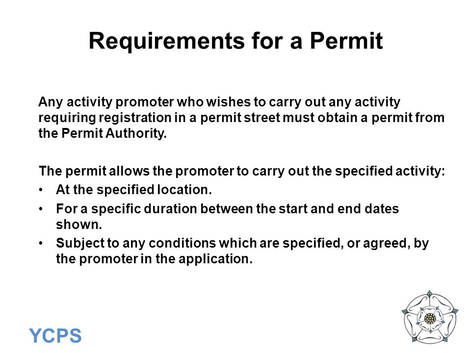 Requirements for a Permit
