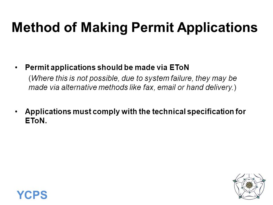 Method of Making Permit Applications