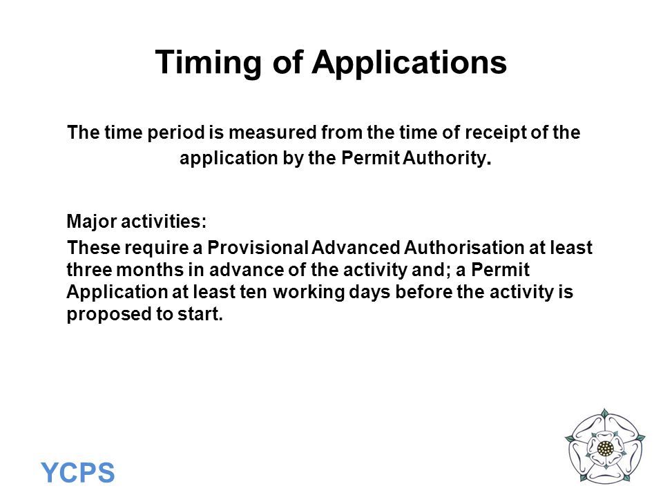 Timing of Applications