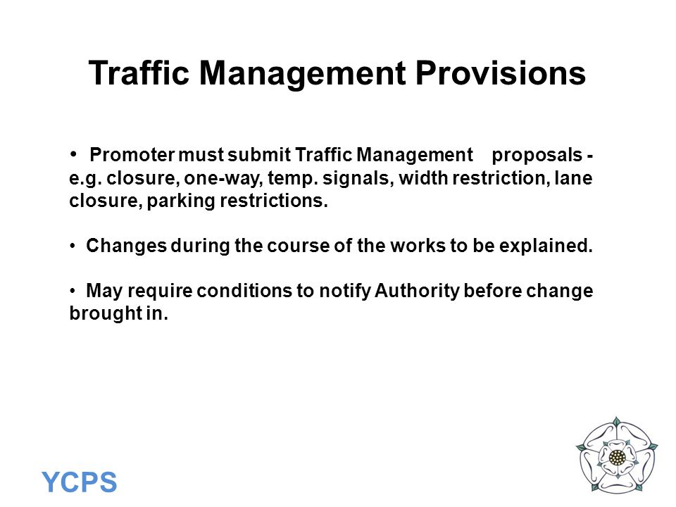 Traffic Management Provisions