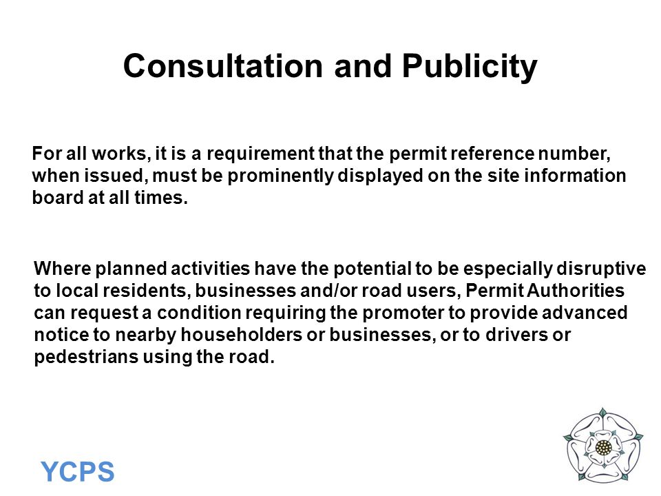 Consultation and Publicity