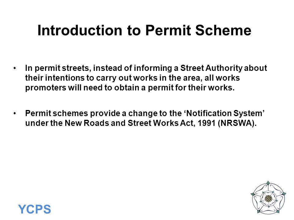 Introduction to Permit Scheme