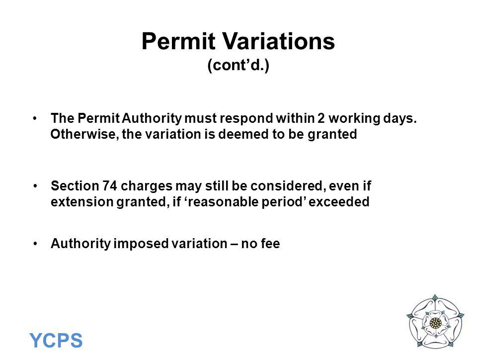 Permit Variations (cont'd.)