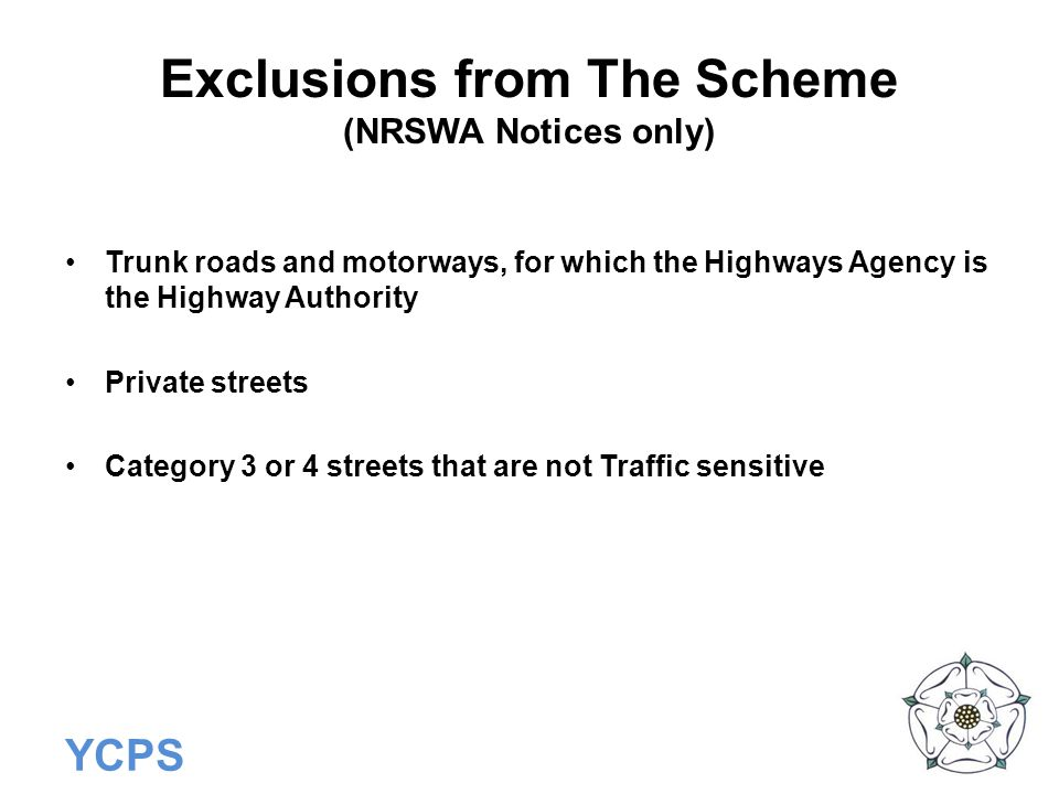 Exclusions from The Scheme (NRSWA Notices only)