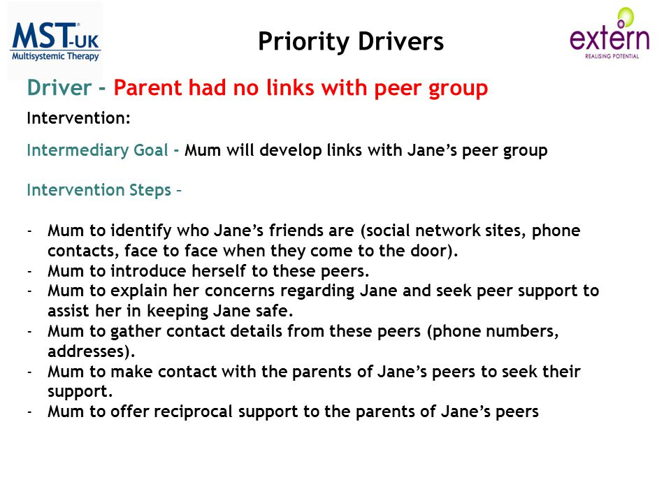 Priority Drivers Driver - Parent had no links with peer group