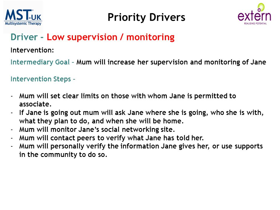 Priority Drivers Driver - Low supervision / monitoring Intervention: