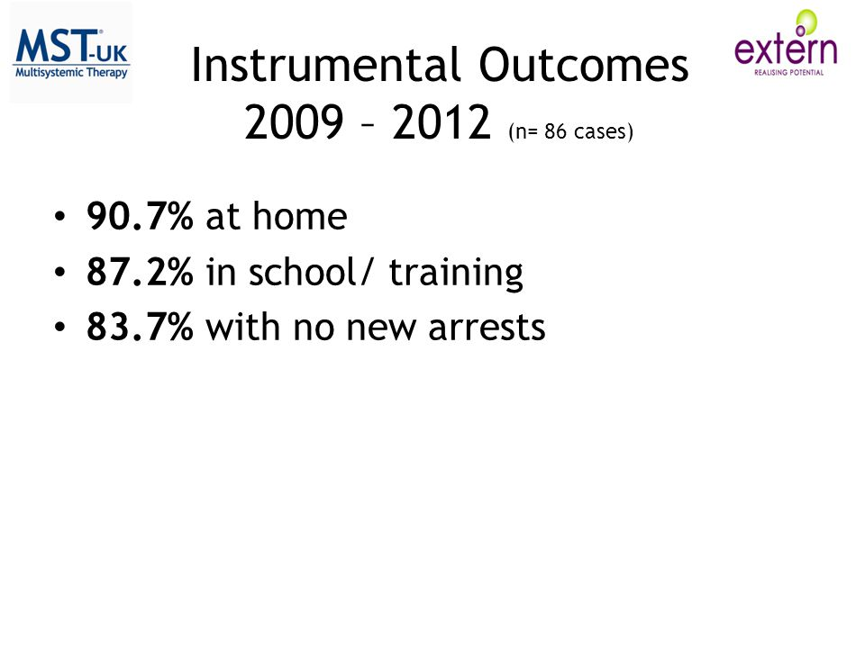 Instrumental Outcomes 2009 – 2012 (n= 86 cases)
