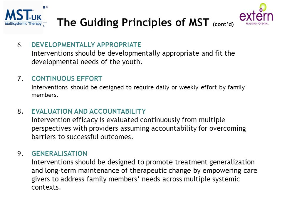 The Guiding Principles of MST (cont'd)