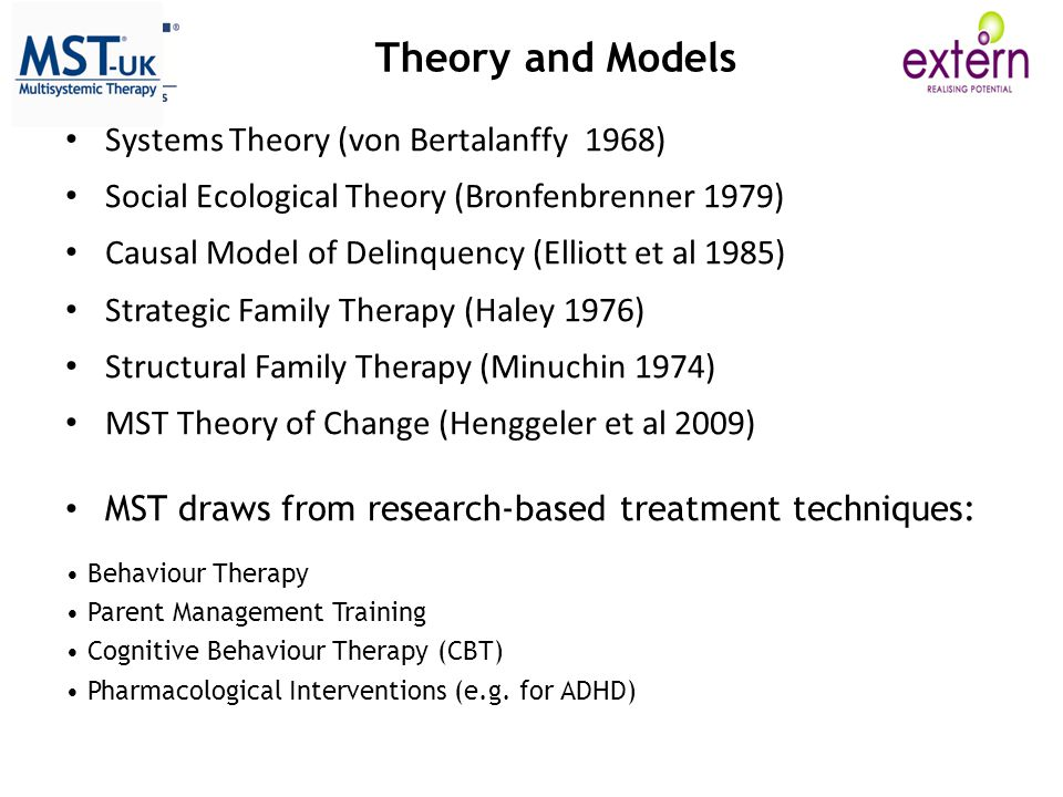 Theory and Models Systems Theory (von Bertalanffy 1968)