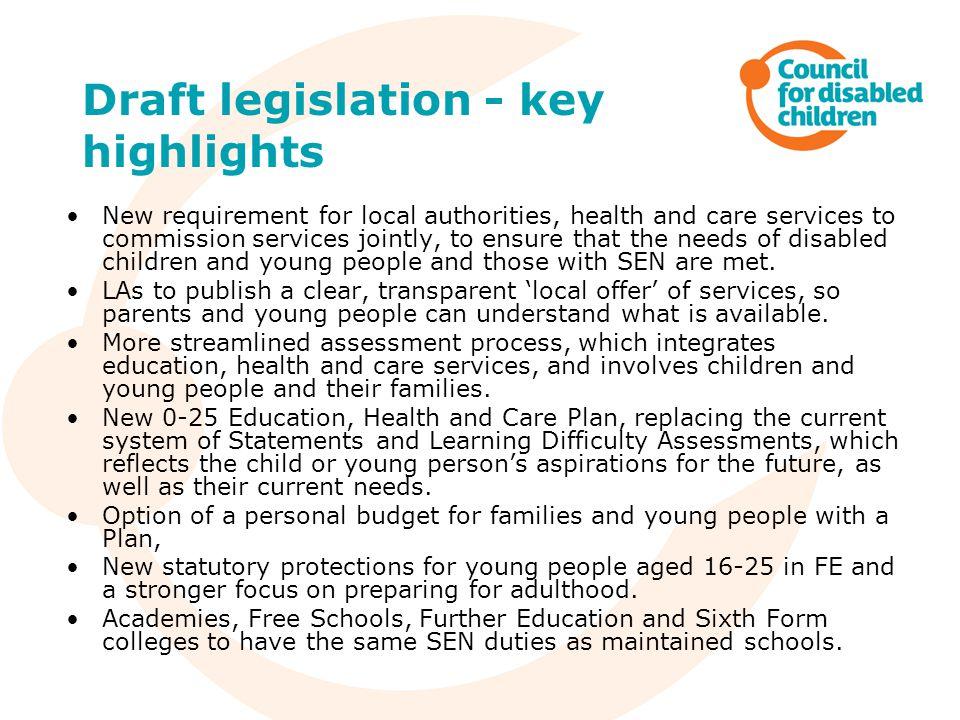 Draft legislation - key highlights