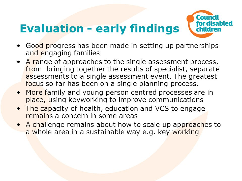 Evaluation - early findings