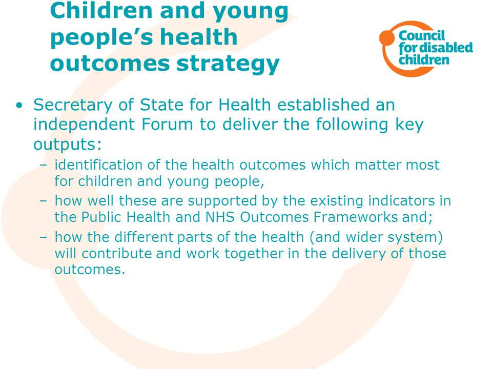Children and young people's health outcomes strategy