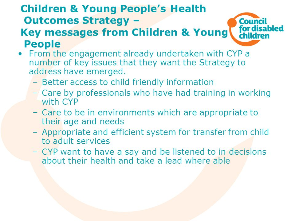 Children & Young People's Health Outcomes Strategy – Key messages from Children & Young People
