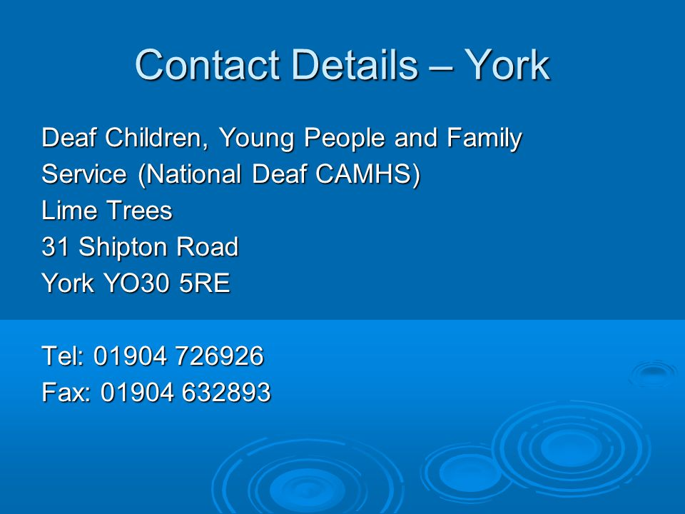 Contact Details – York Deaf Children, Young People and Family