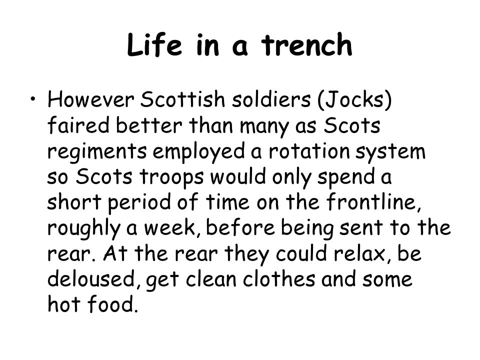 Life in a trench