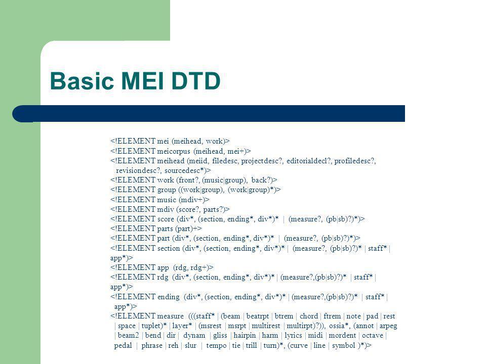Basic MEI DTD <!ELEMENT mei (meihead, work)>