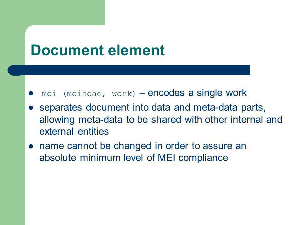 Document element mei (meihead, work) – encodes a single work