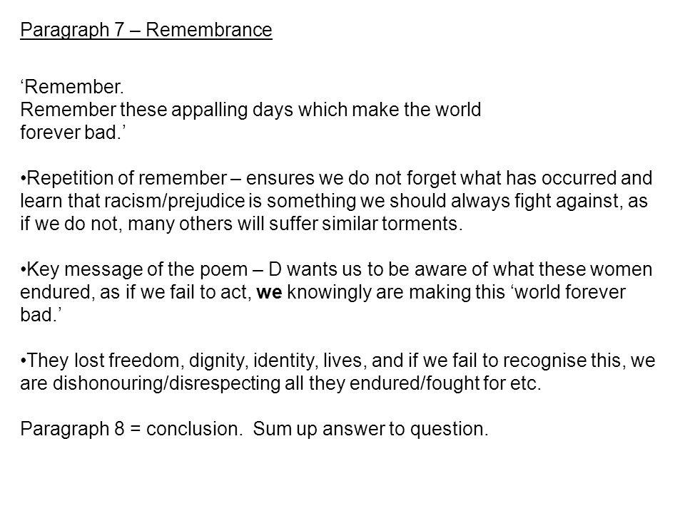 Paragraph 7 – Remembrance