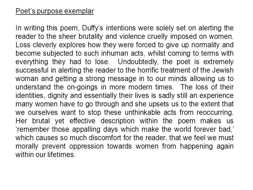 Poet's purpose exemplar
