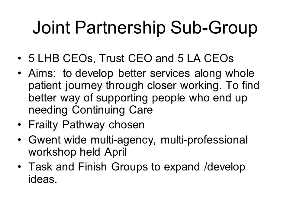 Joint Partnership Sub-Group