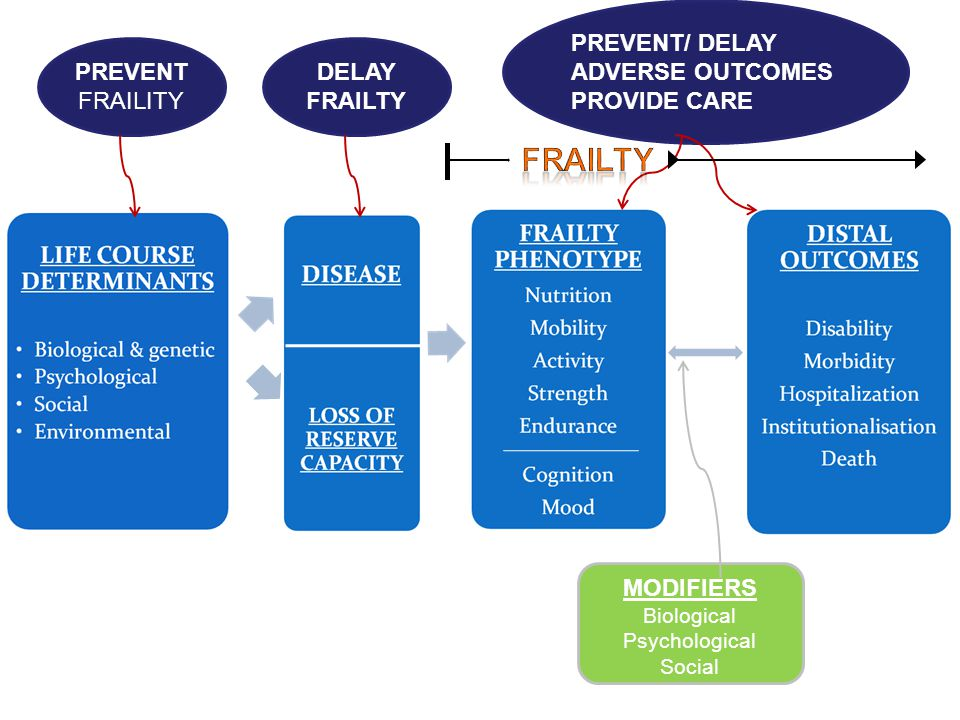 FRAILTY PREVENT/ DELAY ADVERSE OUTCOMES PROVIDE CARE PREVENT FRAILITY