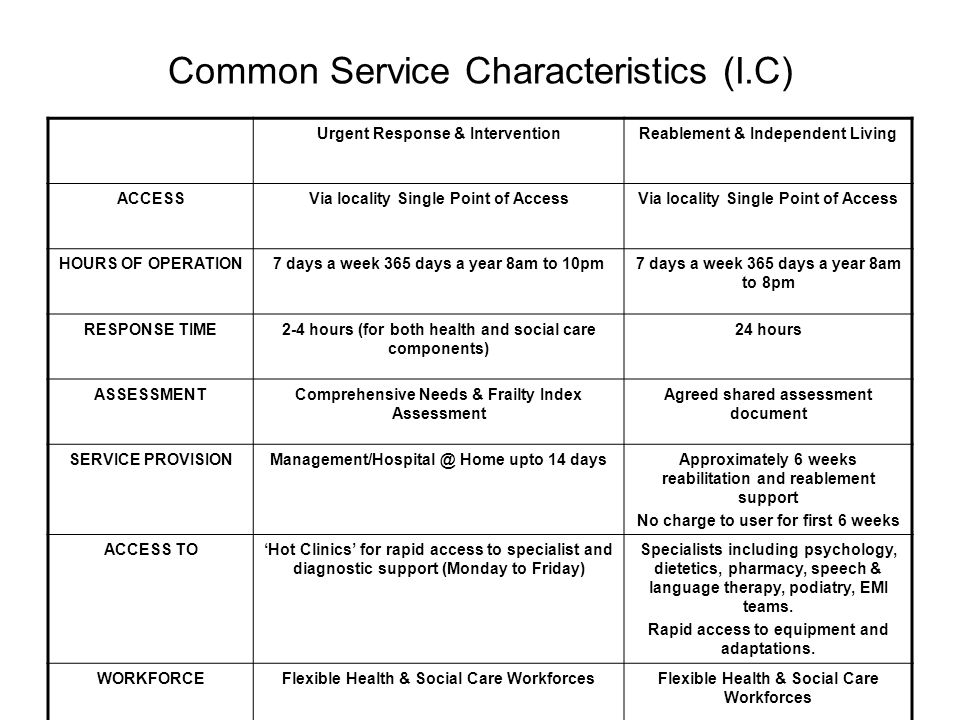 Common Service Characteristics (I.C)